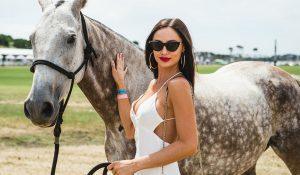 Polo at Barnbougle - Fashionable lady next to horse