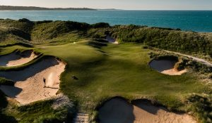 The Dunes golf course - bunker and ocean view