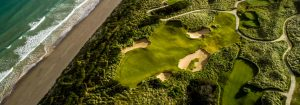Aerial shot of the Dunes course showing the ocean
